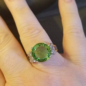 Size 10 Sterling Silver Peridot Ring